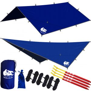 Chill Gorilla 12′ Hammock Rain Fly Tent Tarp and Waterproof Camping Shelter. Lightweight. Easy to setup. Essential Survival Gear. Stakes Included. Made from DIAMOND RIPSTOP Nylon. 12′ x 12′