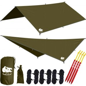 Chill Gorilla 10′ HAMMOCK WATERPROOF RAIN FLY TENT TARP 170″ CENTERLINE. Lightweight RIPSTOP NYLON & Not Cheap Polyester. Stakes Included. Survival Gear Backpacking Camping ENO Accessory