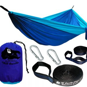 Chill Gorilla DOUBLE HAMMOCK WITH TREE STRAPS. Perfect for Backpacking Camping Travel Beach Yard. Portable Parachute Hammock. Easy to Setup. 126″(L) x 78″(W) Lightweight Ripstop Nylon.
